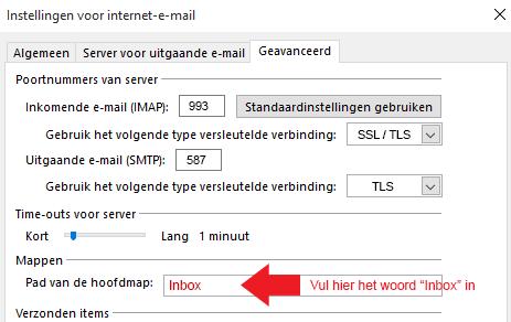 Postvak In synchronisatie bij Outlook i.c.m. IMAP.